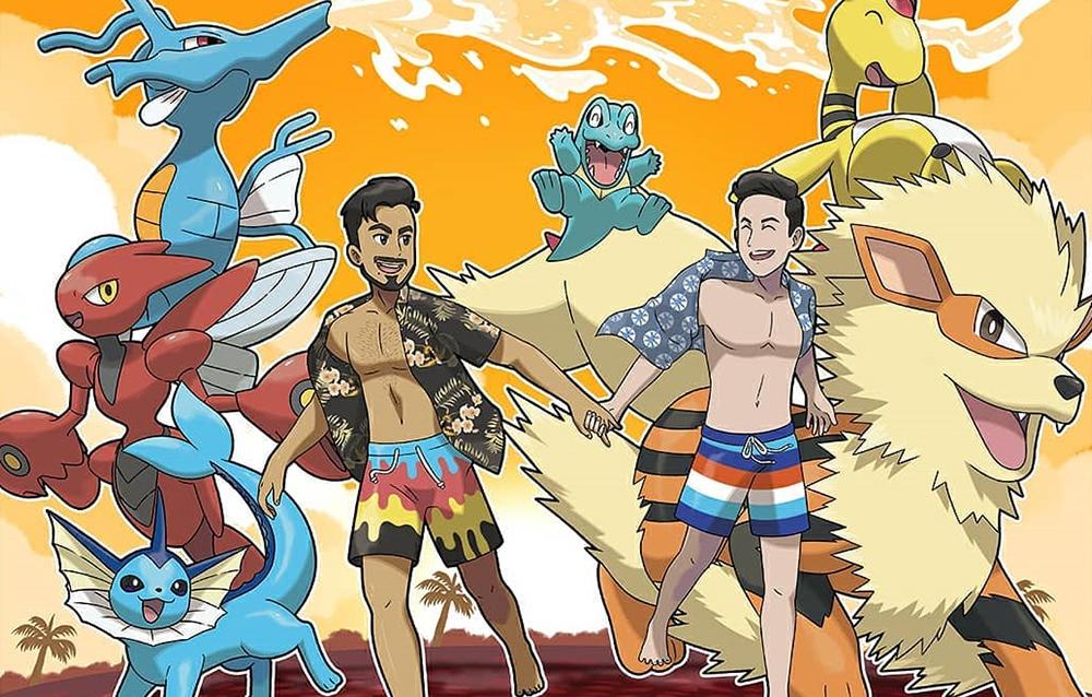Parejas gays convertidas en caricaturas junto sus Pokemon favoritos